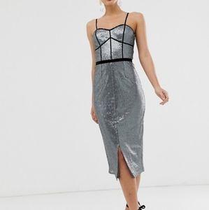 Little Mistress Silver Sequin Strap Midi Dress-NWT
